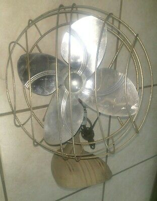 """Vintage Green One Speed adjustable HAMILTON 5145 Electric Fan - Tested- 15.5 """" H"""