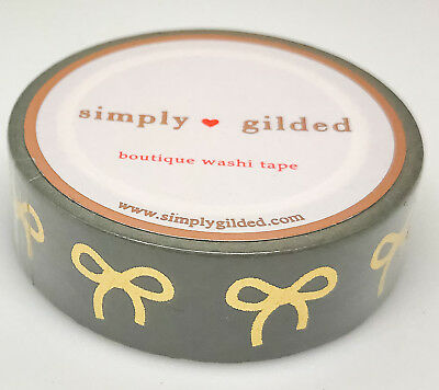 Simply Gilded Washi Tape | Grey & Gold Bows - Neutral Collection (15 mm) | NIP