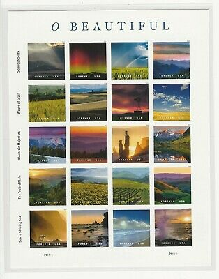 2018 O Beautiful pane of 20 forever stamps Scott 5298 with clear stamp mount
