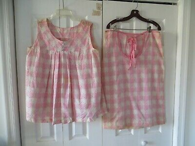 50's Vintage Pink Gingham Check Atomic Baby Doll Top Maternity Skirt Set 13/14