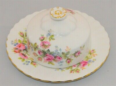 Royal Albert Moss Rose Covered Butter Dish