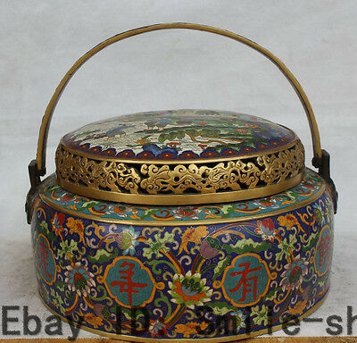 "13"" Marked Chinese Purple Bronze Cloisonne Enamel 24K Gold Flower basket Statue"