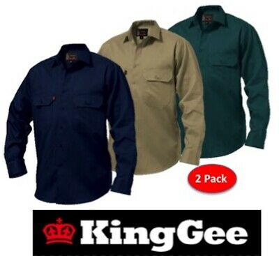 Pack Of 2 - King Gee  - Mens Open Front Long Sleeve Drill Work Shirts K04010
