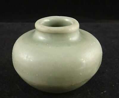 Chinese Celadon Porcelain Miniature Green Glazed Vase /Pot.c.14th/15th c. 1 5/8""