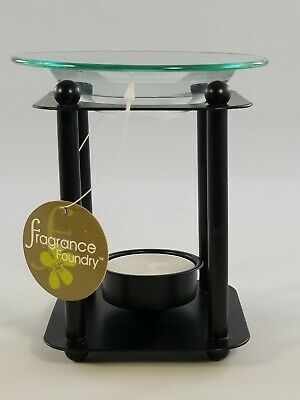 Modern-Art Oil Warmer Black Metal Glass Oil Dish One Tealight Candle Included