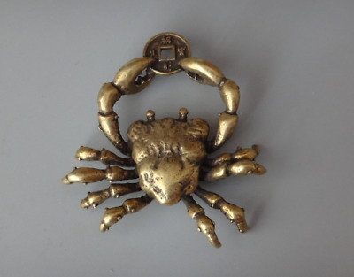 China Antique Rare Collectible Copper Handwork Lifelike Little Crab Statue