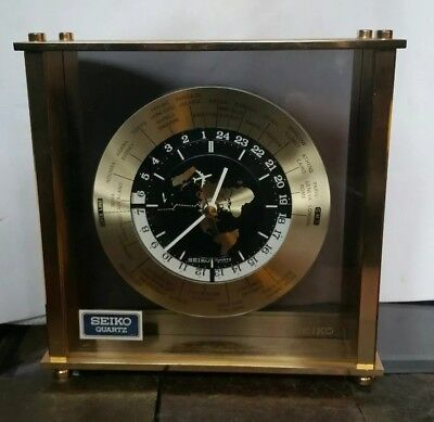 Brass Seiko Quartz Desk Mantle World Time Zone Clock with Airplane Second Hand