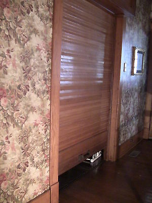 Victorian Antique Oak Wood Tambour Door Partition Overhead Roll Up Parlor Entry
