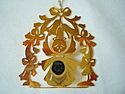 """Brass Christmas Ornament Lunt Angel With Bells 2.25"""" x 2.5"""""""