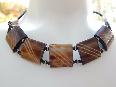 Vintage panel Bead Bovine Horn 1970s Southwestern Etched Necklace