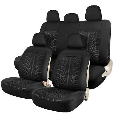 Sideless Car Seat Covers Front Rear Head Rests Full Set for Truck SUV Black