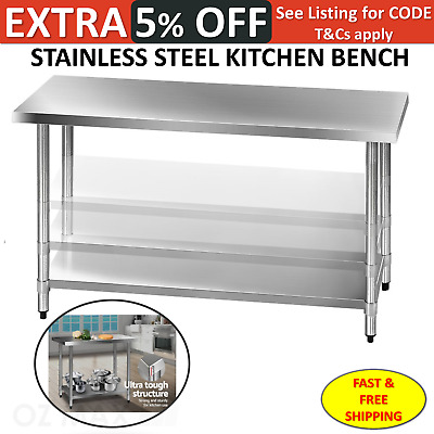 430 Stainless Steel Bench Table Commercial Home Kitchen Work Food Prep Catering