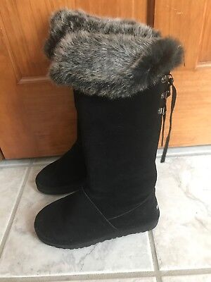 558b8383af1 UGG CLASSIC CUFF Tall Water-resistant Black Suede Fur Boots Size US 7 Womens