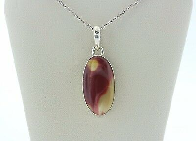 Signed Sj 925 Sterling Silver Oval Mookaite Pendant