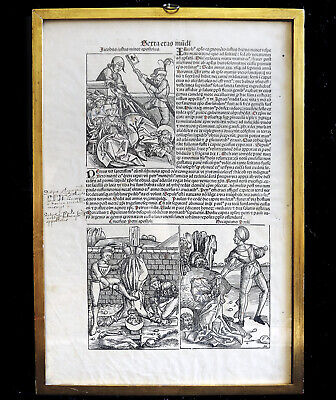 Original Nuremberg Chronicle 1493 Illuminated Page Framed Woodcuts Incunable