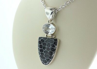 Signed Sj 925 Sterling Silver Black & White Fossil Agatized Coral & CZ Pendant