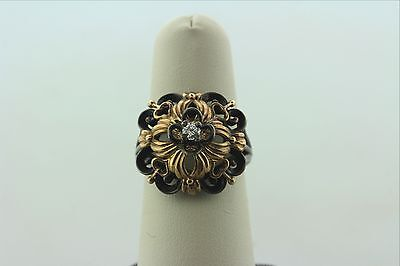 Art Deco Estate 14K Yellow Gold & Oxidized Sterling Silver Cocktail Diamond Ring