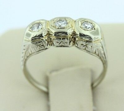 Antique Art Deco 14K White Gold Old Cut Diamond Ring with Hand Engraving- 5.5