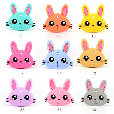 Rabbit Infant Baby Teether Chewable Silicone Pandent for Pacifier Chain Necklace