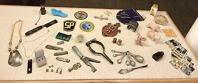Junk Drawer Lot Jewelry Sterling/Gold Vermeil Baseball Cards Military Patches