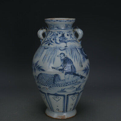 "12"" Chinese old Porcelain yuan Blue & white handmade Fisherman double ears Vase"