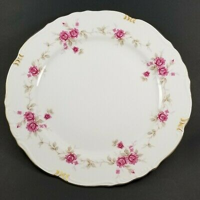 CAROLINE Pattern by NORLEANS China Dinner Plate Pink Roses Floral Japan