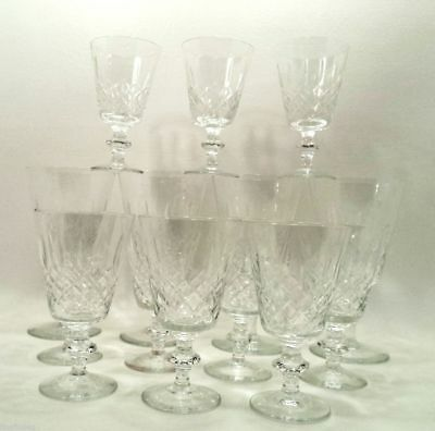 8 Wine 4 Water Crystal Goblets + 2 Free UNK223 Matching Clear Cut Diamonds