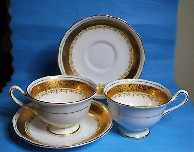 2 Stunning Royal Albert REGENCY Pedestal China Cups and Saucers cup saucer Gold