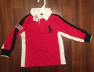 RALPH LAUREN Big Pony USA FLAG Long Sleeve POLO SHIRT Boys 2T 3T RED Rugby # 3