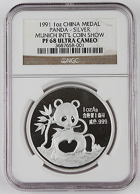 1991 China Munich Intl Coin Expo 1 Oz Silver Panda Proof Medal Coin NGC PF68 UC