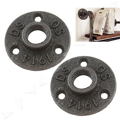 2pc 1/2'' BSP Malleable Cast Iron Pipe Fittings Tool Wall Mount Floor Flange Kit