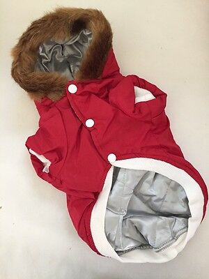 Dog Cat Christmas Party Faux Fur Hooded Jacket For Small to Medium Size Pet