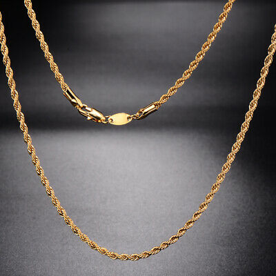 Fashion Womens Mens,Chain Yellow Gold Filled,Statement Rope long Necklace 23.6
