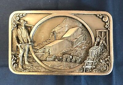 Vintage SISKIYOU Buckle Co. Mining BELT BUCKLE  #D-27 Pewter. Williams, Oregon
