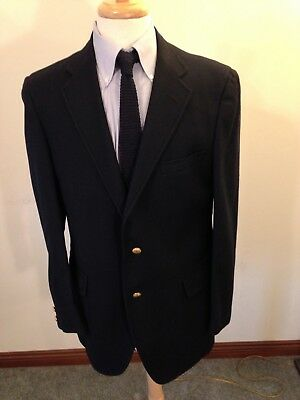 Men's Jos A Bank Red Label Navy Blue Wool Flannel 3/2 Roll Blazer-40L Trad Ivy