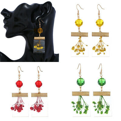 Fashion Dried Flowers Transparent Resin Drop Dangle Earrings Handmade For Women