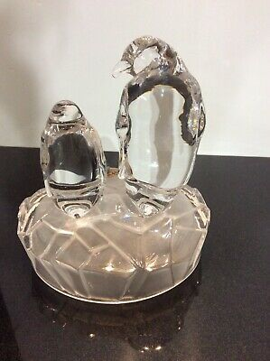 Charming Royal Crystal Rock Penguin Pair RCR Collectable Glass Cute Rare