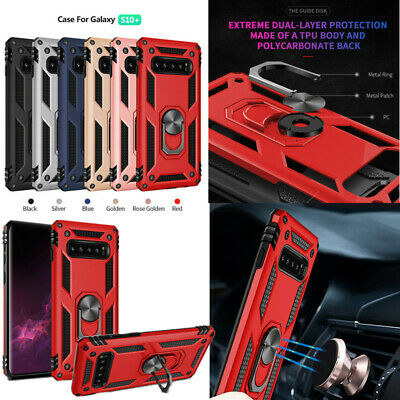 For Samsung Galaxy S10e S10 S8 S9+ Shockproof Armor Ring Holder Hard Case Cover