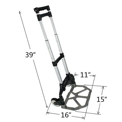 Trolley Cart With Wheels Hand Truck Foldable Dolly Rolling Luggage Compact 170Lb
