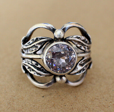 Rare Vintage USSR RING WHITE STONE SILVER 875 stamp STAR ANTIQUE Size 10