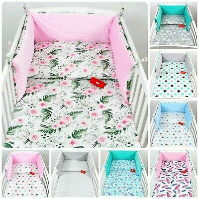 3 Pieces Nursery/ Minky - Baby Bedding Set- Bumper-Pillow-Quilt Covers/ Cotbed