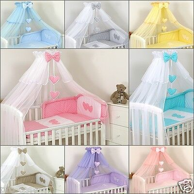 Luxury Cot Canopy Drape Netting/Canopy only/Holder/ Pink, Blue,White,Grey,Yellow
