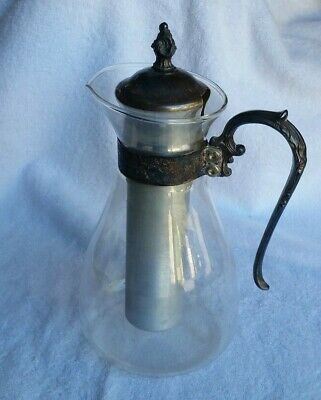 Glass Carafe Pitcher with Cooling Tube Silver Plated Trim