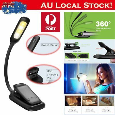4 LED Eye Care USB Rechargeable Stand Light Clip On Bed Music Reading Book Lamp