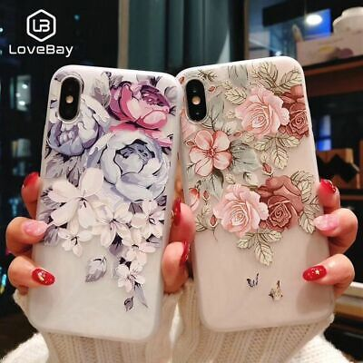 Phone Case Fashion 3D Relief Flowers Flamingo Leaf Soft TPU Fitted Cases, Covers