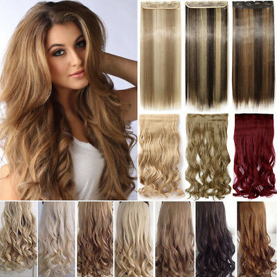 CLEARANCE One Piece THICK 100% Real Clip in as Human Hair Extensions Full Head