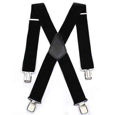 Heavy Duty Elasticated Motorcycle Rider Trouser Braces Clip Motorbike Leathers