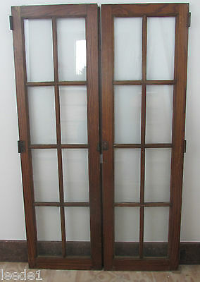 1920's Pair of Oak Cabinet Doors 8 Glass Panes Repurpose Architectural Salvage