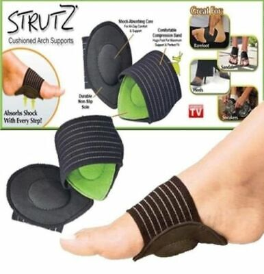 Strutz Cushioned Arch Supports Shock Absorbing Unisex Pain Relief Feet 1 pair