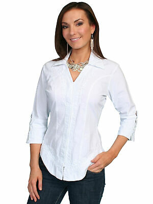 80f40e4455ac Scully Cantina Collection Blouse White 100% Cotton Floral 3/4 Sleeve